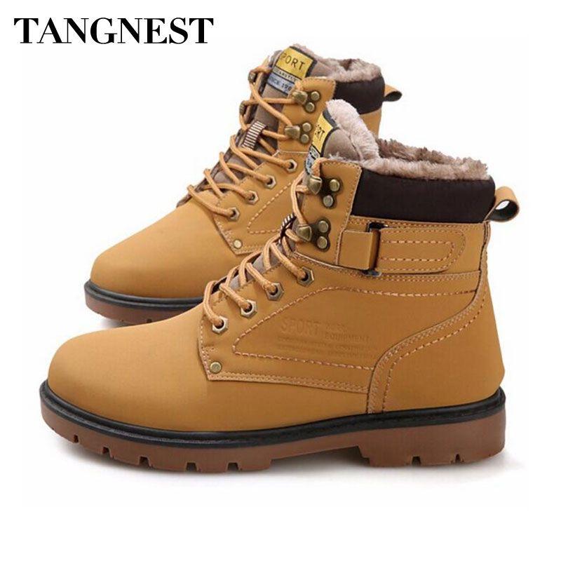 TANGNEST/На зимнем меху Мужские ботинки Повседневное Кружево до Детская безопасность рабочие ботинки осень Для мужчин обувь на платформе резин...