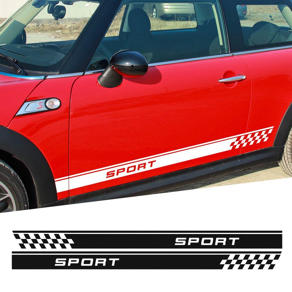 Door Side Stripes Sticker Sport Checker Flag for MINI Cooper One S Countryman R60 Paceman R61 F55 F56 R56 R50 R53 Car Styling
