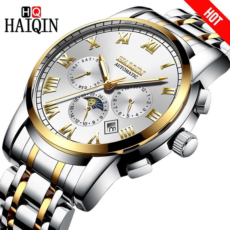 HAIQIN Männer Uhr Automatische mechanische Luxus Business Mond Phase Uhren Wasserdicht Voller stahl armbanduhr Männlichen Kalender uhr