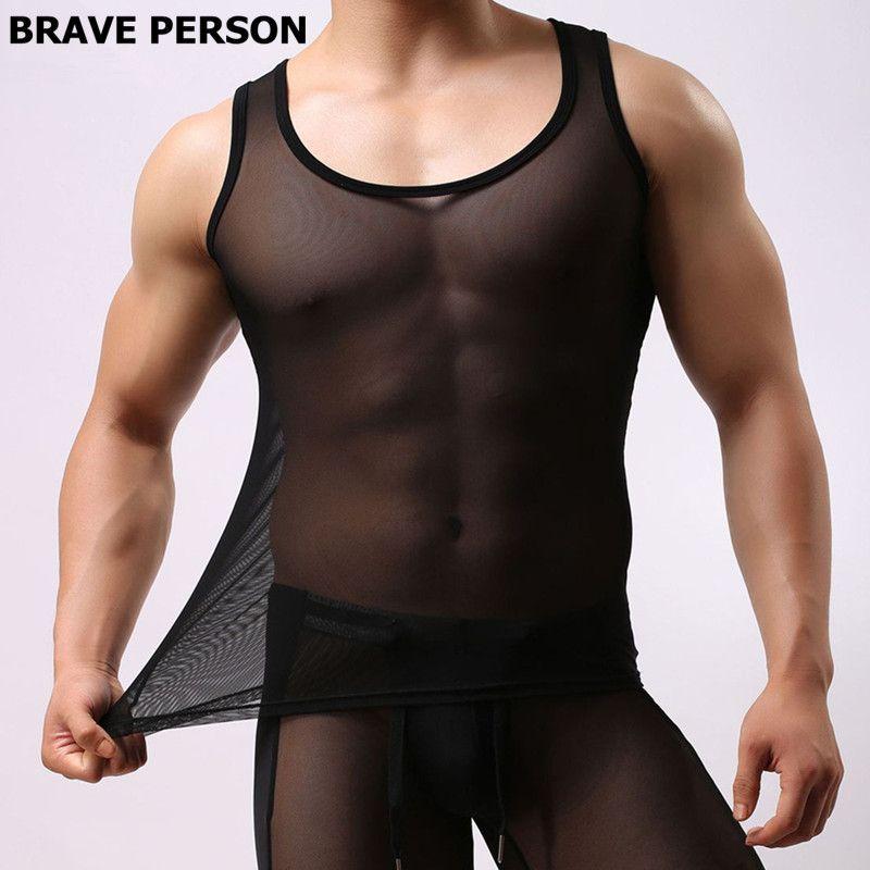 Храбрый Человек брендовая одежда Для мужчин пикантные прозрачные Майки Мужской О-образным вырезом тонкий жилет Ice шелк плотный майка Безру...