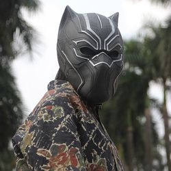 IN STOCK 2017 Solid 3D Black Panther Masks Movie Fantastic Four Cosplay Men's Latex Party Full Mask for Halloween Drop Shipping