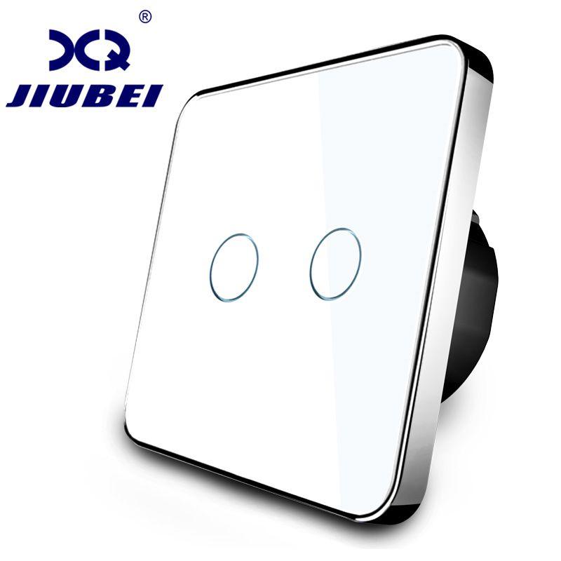 Jiubei Switch Panel Blanco Crystal Glass, interruptor del tacto, Estándar de LA UE, 2 Bandas Interruptor de 1 Vías, interruptor táctil, C702-11/12/13