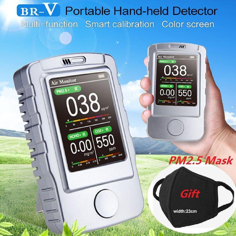 PM1.0 PM2.5 PM10 Formaldehyd HCHO Kohlendioxid CO2 Meter Gas Detektor Luft Qualität Monitor Gas Analyzer Gas Leck Detektor