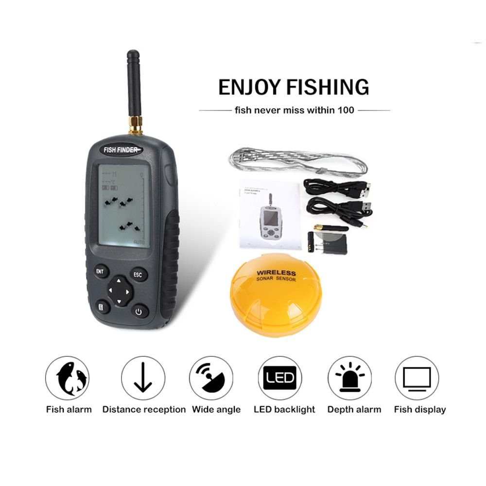 Outlife FF998 Sonar Wireless Fish Finder 40M <font><b>Depth</b></font> 125KHz Sonar Sensor Echo Sounder Fish Alarm Fishing Finder with LED backlight