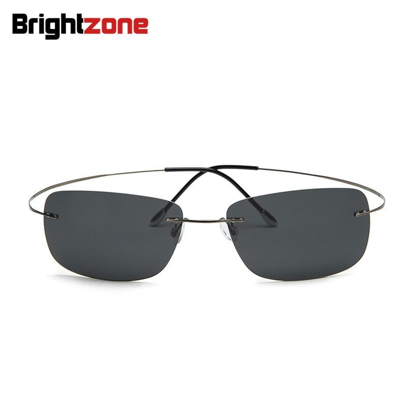 100% titane sans monture Rectangle lunettes de soleil Super léger marque Designer sans charnière Gafas hommes polarisés lunettes de soleil lunettes
