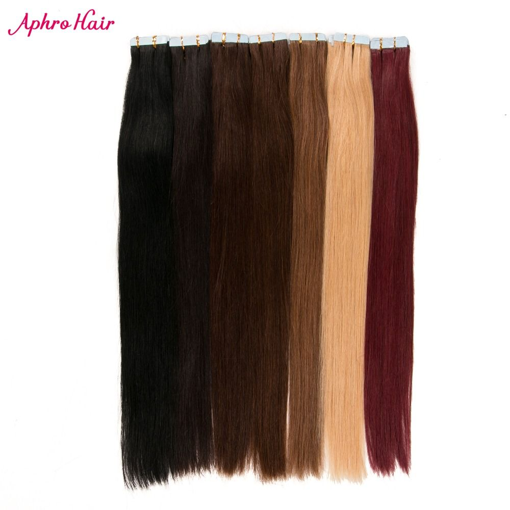 Aphro Hair 20pcs Tape In Hair Extensions Non-Remy Straight Hair 100% Human Hair Skin Weft #1#1b#2#4#6#27#613#99j