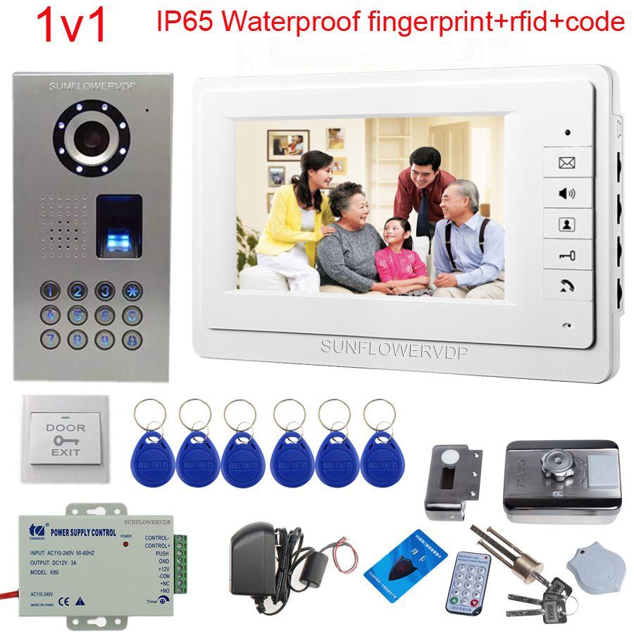 IP65 Wasserdichte Video Tür Telefon Türklingel Glocke Intercom Support Fingerprint/Code Entsperren Mit Rfid Türschloss Nacht Vision Kit