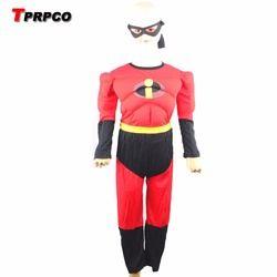 3-7years Pesta Anak-anak Komik Marvel The Incredibles Bob Otot Kostum Halloween, Anak Laki-laki Roll Bermain Pakaian N1261