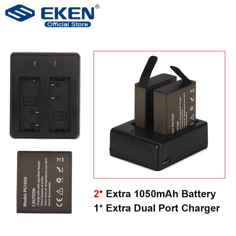 Ensemble de batterie de caméra d'action avec batterie 2 pièces + double chargeur + câble USB pour EKEN H9 H9R H3 H3R H8PRO H8R H8 pro V8S SJ4000 SJ5000