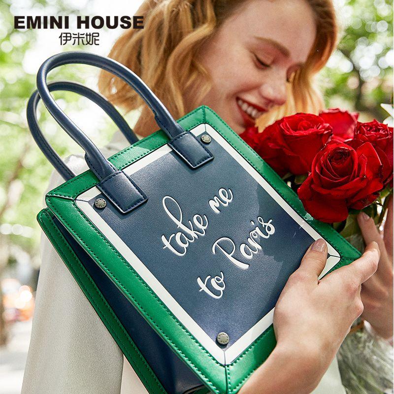 EMINI HOUSE Paris Series Tote Bag For Women Shoulder Bags Luxury Handbags Women Bags Designer Split Leather Purses And Handbags