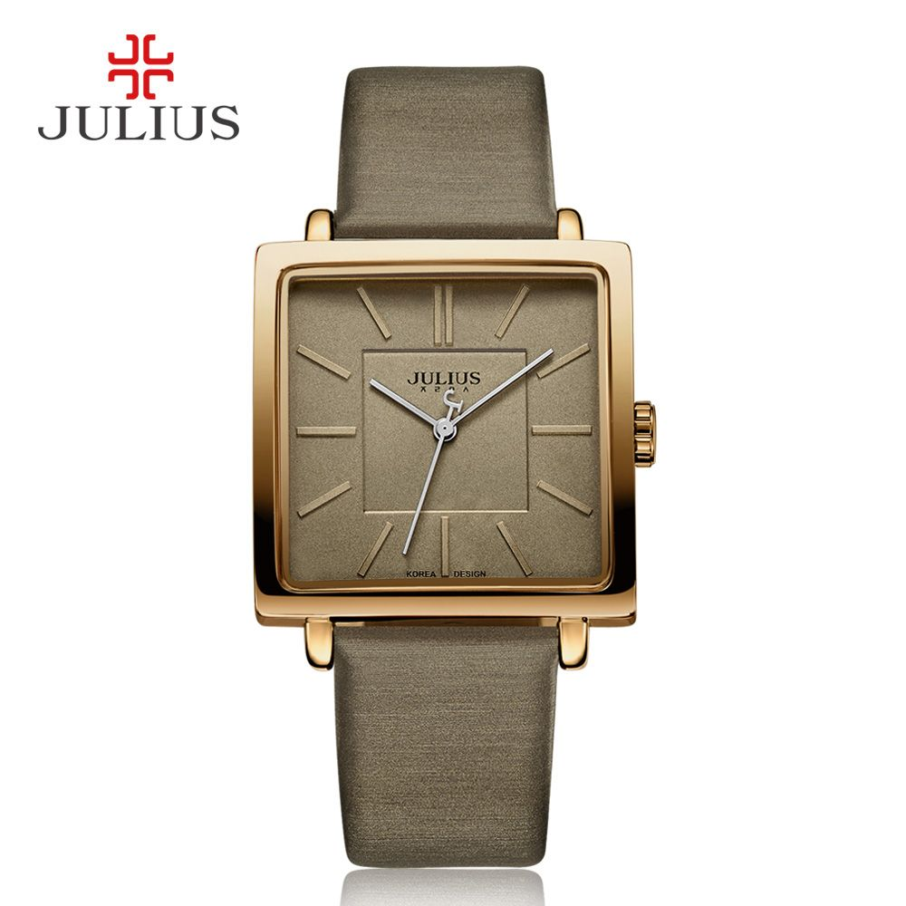 Julius marque montres à Quartz femmes horloge or carré en cuir Bracelet décontracté mode joyau dames pas cher Promotion Relojes JA-354