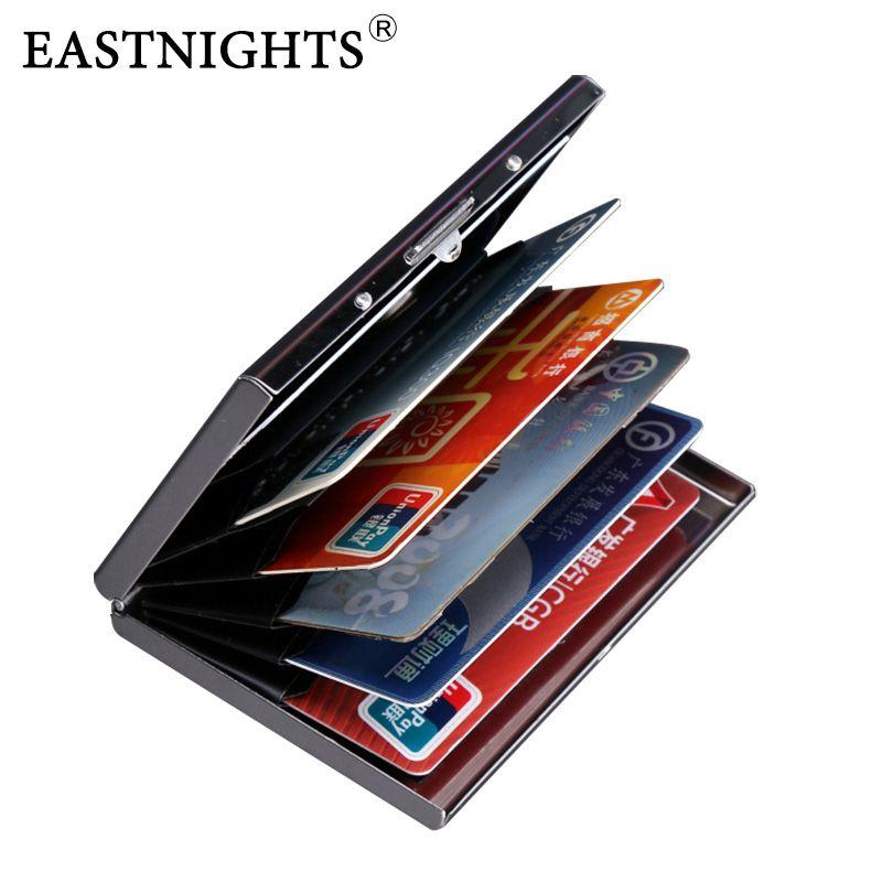 EASTNIGHTS 2018 nouvelle arrivée de Haute Qualité en acier inoxydable hommes carte de crédit titulaire femmes carte bancaire en métal cas carte boîte TW2703