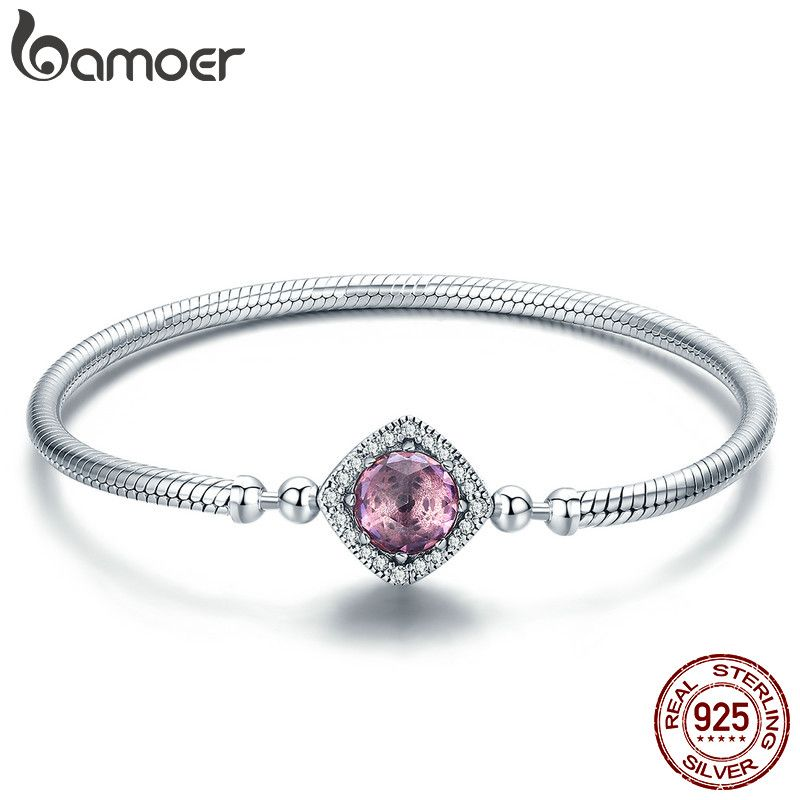BAMOER Authentic 100% 925 Sterling Silver Pink AAA Cubic Zircon Charm Strand Bracelets for Women Sterling Silver Jewelry SCB052