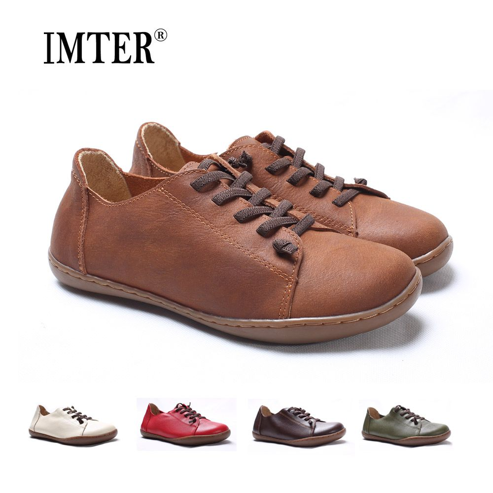 (35-46)Women Shoes Flat 100% Authentic Leather Plain toe Lace up Ladies Shoes Flats Woman Moccasins Female Footwear (5188-6)
