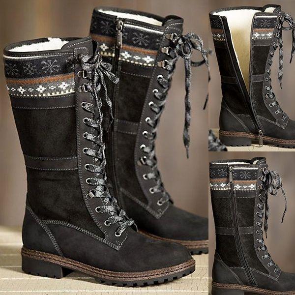 Dernières 2018 hiver genou bottes femmes Sexy à lacets Zipper bottes longues mode bas talon chaussons chaussures DA231