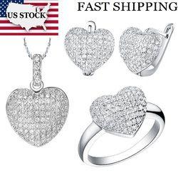 Amerika Serikat Saham Uloveido 50% Pernikahan Perhiasan Set Kostum Warna Perak Cinta Hati Bentuk Perhiasan Kalung Anting-Anting Set Cincin T004