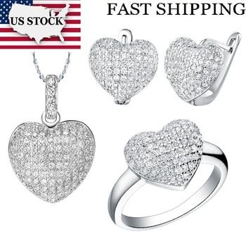 USA STOCK Uloveido 50% Wedding Jewelry Sets Costume Silver Color Heart Love Shape Jewellery Necklace Earrings Ring Set T004