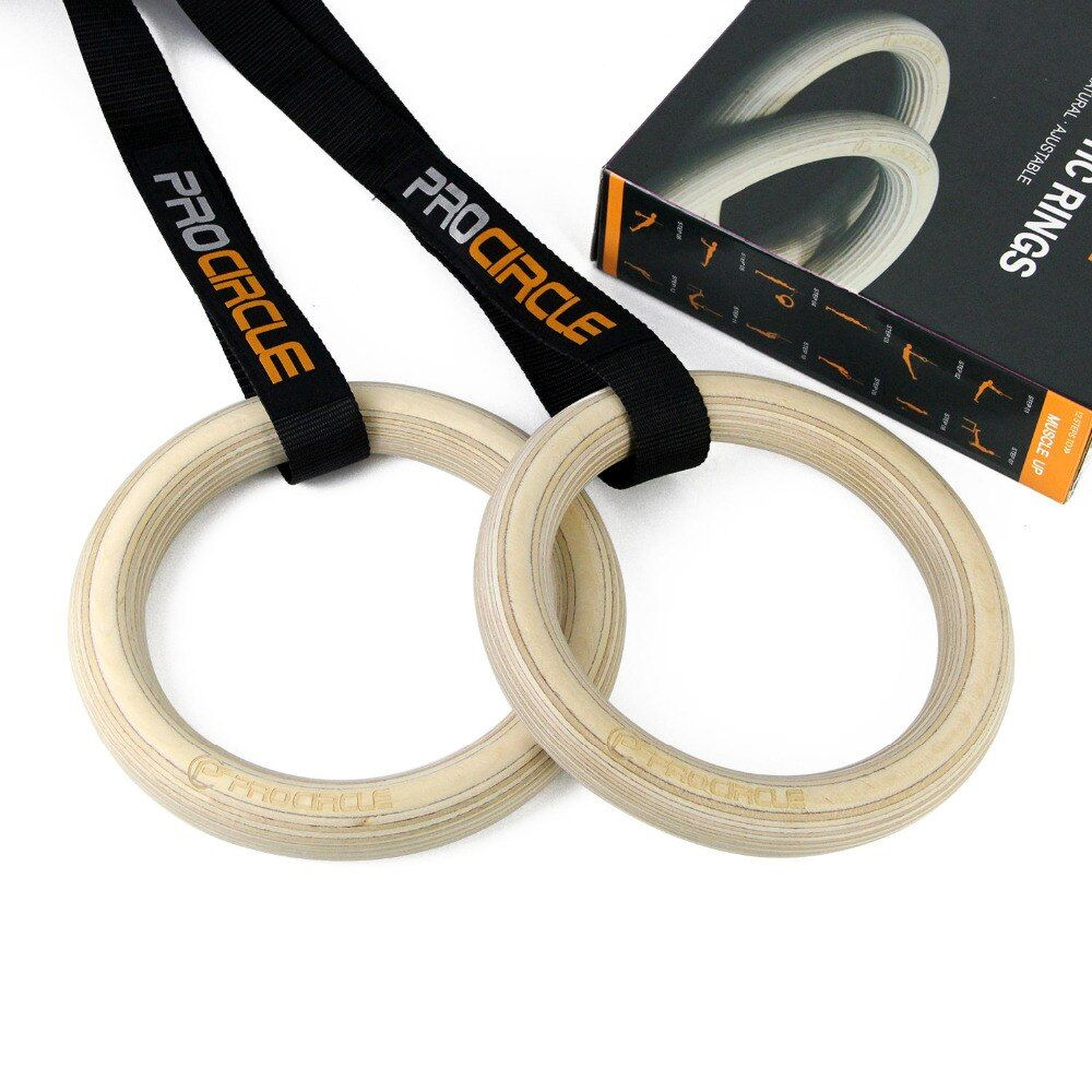 Procircle Wood Gymnastic Rings Gym Rings with Adjustable Long Buckles Straps Workout For Home Gym & Cross Fitness