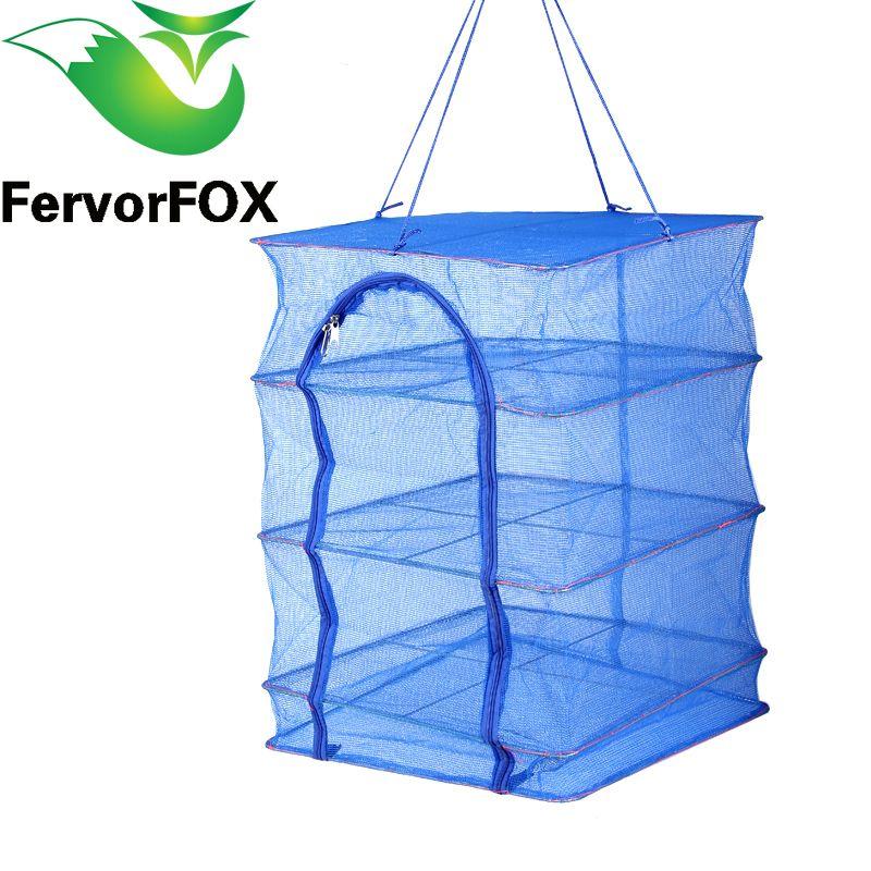 Foldable 4 Layers Drying Net Fish Net Drying Rack <font><b>Hanging</b></font> Vegetable Fish Dishes Dryer Net 40 x 40 x 68cm PE Hanger Fish Net