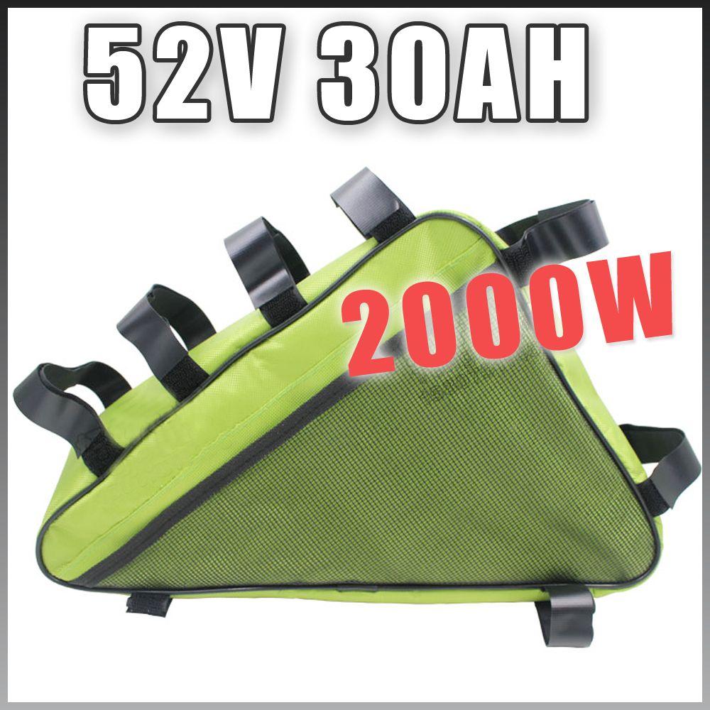 E BIKE 52V 30AH Electric Bicycle lithium battery Long life triangle Battery Pack Compatible 48V Free Customs US EU RU