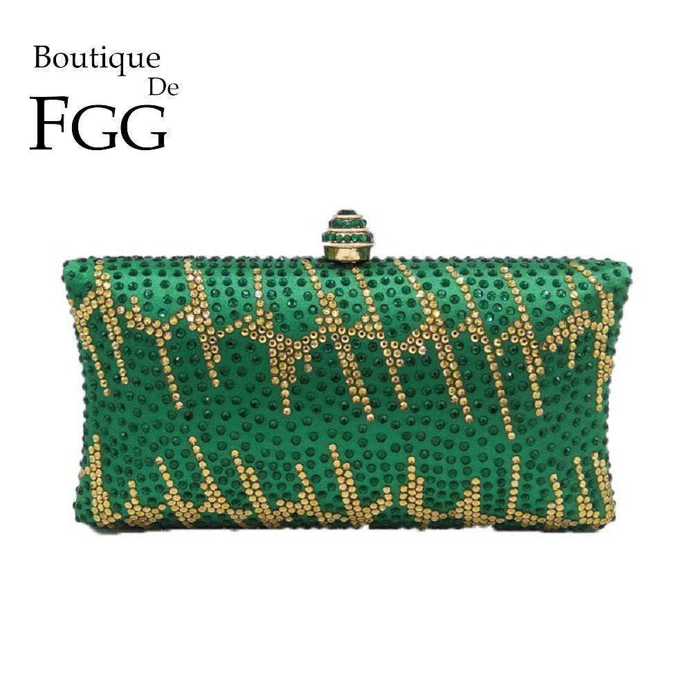 Boutique De FGG vert émeraude cristal soirée pochettes De mariage sac femmes diamant Cocktail partie chaîne épaule sacs à main