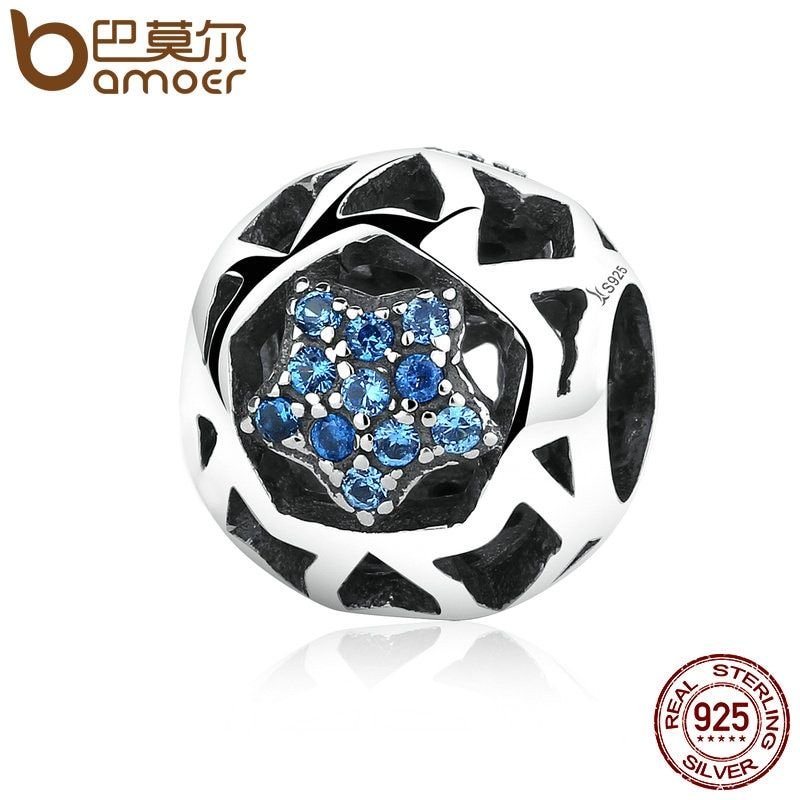 BAMOER 925 Sterling Silver Vintage Blue STARS Beads Charms fit Women Bracelets & Bangles DIY Jewelry SCC057