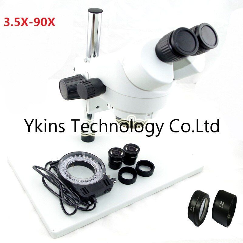 7-45X OR 3.5X-90X Big table stand Zoom Binocular Stereo Microscope+56pcs Led lights with 0.5X 2.0X objective lens for PCB repair