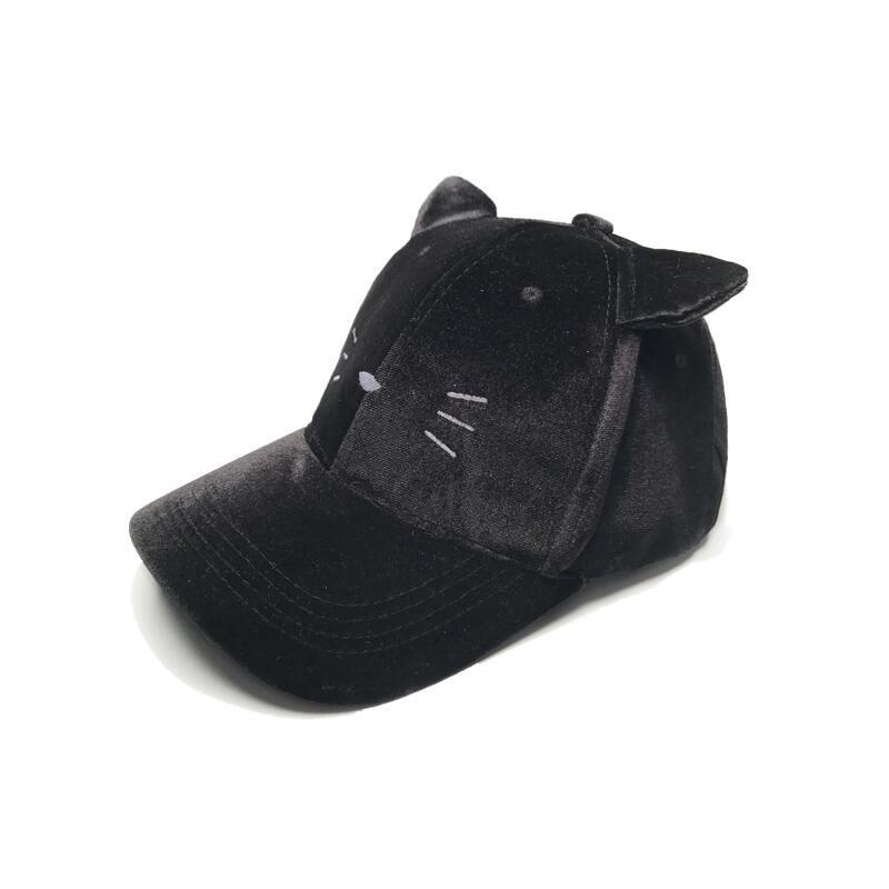 2017 new Women cat ear Velvet winter Cap Soft Fashion Hats for Women Hip Hop Solid Color lovely super Warm girl Baseball Caps