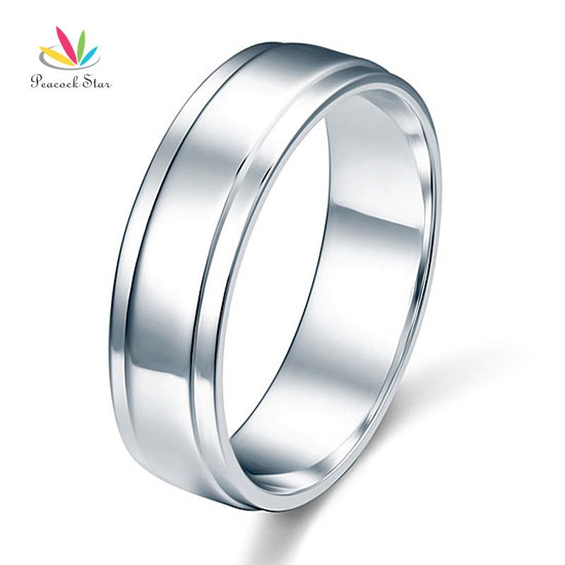 Peacock Star Men's Solid Sterling Solid 925 Silver Wedding Band Ring Jewelry CFR8055
