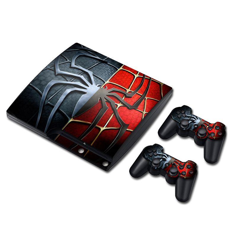 Spider Man Autocollant de Peau de Vinyle Autocollant pour PS3 Slim PlayStation 3 Slim Console avec 2 Pcs Pour PS3 Contrôleurs Couvre