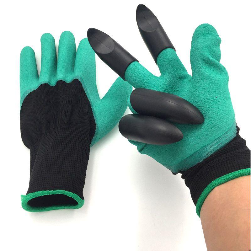 2 пара резиновая полиэстер строителей сад Genie Прихватки для мангала 4 ABS Пластик когти высокое качество Садовые перчатки с Пластик когти
