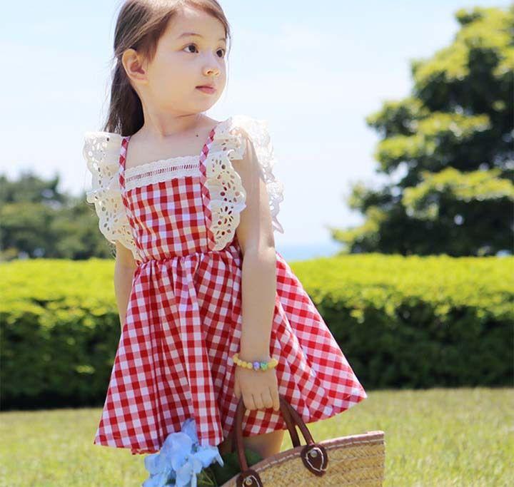 2019 D'été de Bébé Filles Fly Manches de Soirée robe de fête Enfants Dentelle Princesse Robe Enfants Fille Vêtements Bleu/Rouge