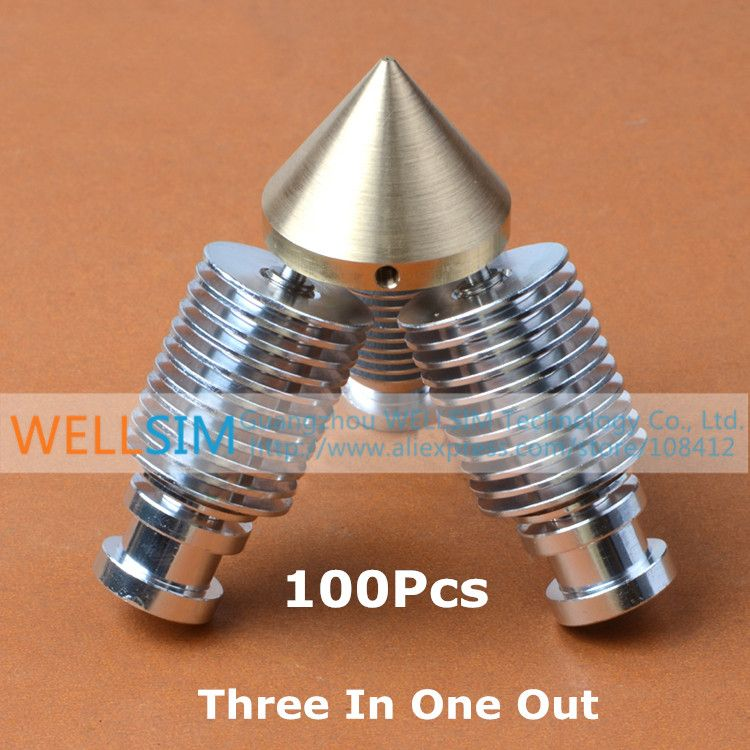 100Pcs Brass Multi Color Nozzle 3 IN 1 OUT 0.4mm Three Input One Output For 1.75mm Filament Mixing Colors Multi Nozzle For 3D