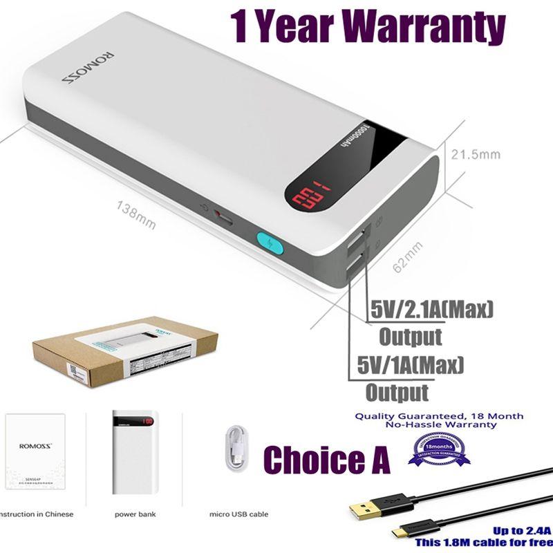 Original Romoss 10400mah Power Bank Sense 4P Plus Powerbank 2.1A LED display for iPhone iPad Xiaomi Huawei Samsung Xiomi