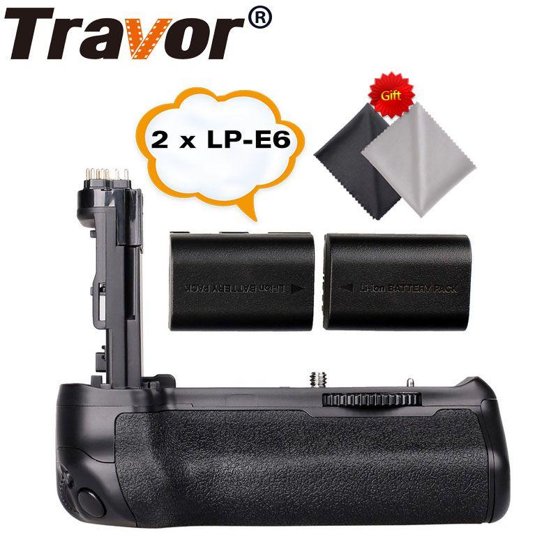 Travor Battery Grip Holder for Canon EOS 70D 80D DSLR Camera as BG-E14 +2pcs LP-E6 battery+2pcs Microfiber Cleaning Cloth
