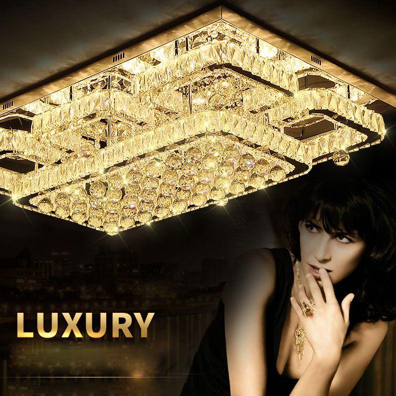 Flush Mount Decke Licht Decke Lampe Moderne Beleuchtung Chrom Licht Dimmbare LED Luxus K9 Kristall Led-deckenleuchte für Schlafzimmer