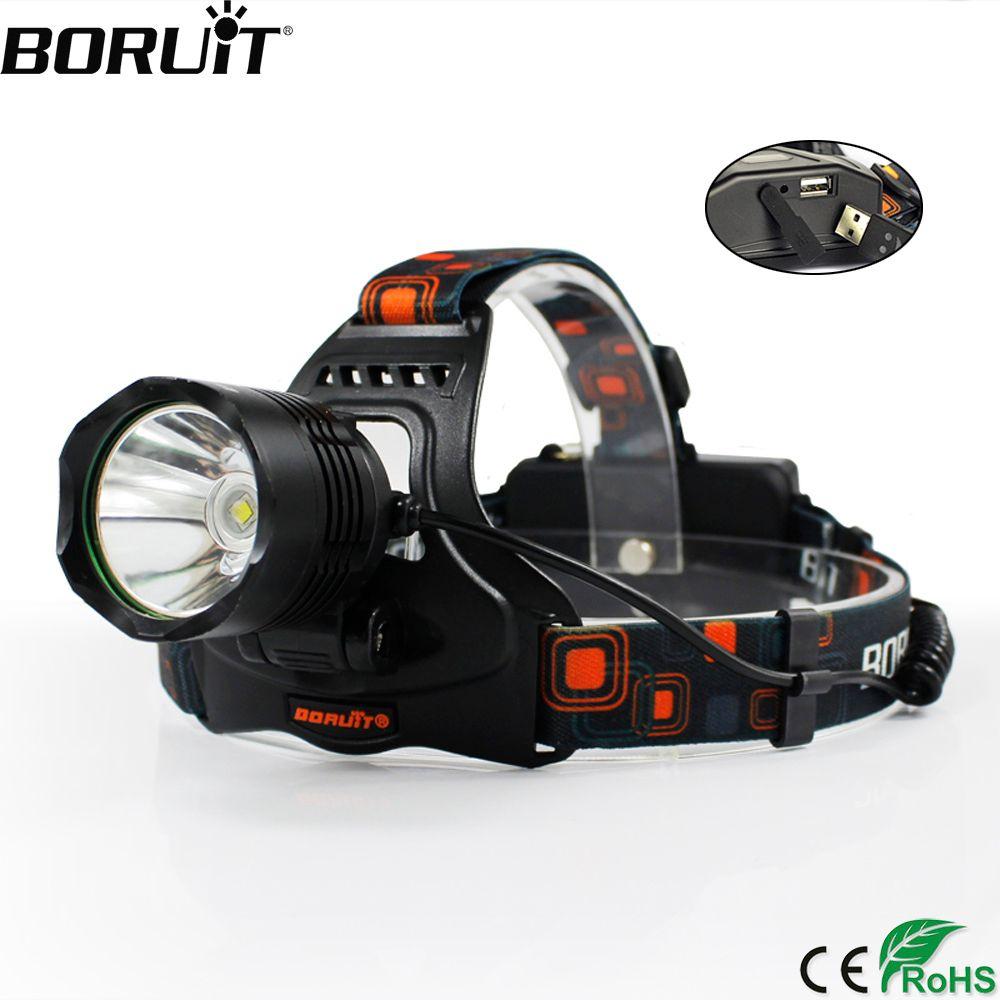 BORUiT Multifonction 5 Modes XM-L2 LED Phare Puissance Banque DC Chargeur Phare 18650 Batterie Tête Torche Camping lampe de Poche