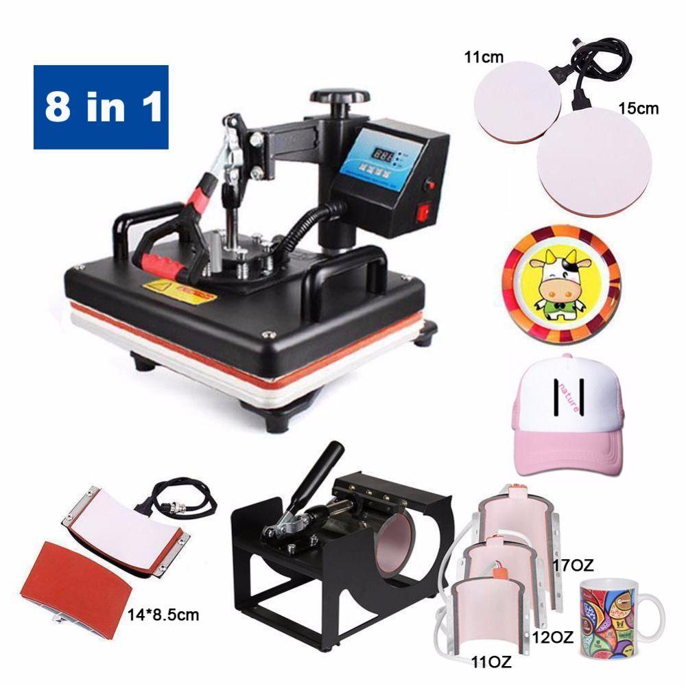 Promotions 30*38 CM 8 in 1 Kombinierter Hitzepresse Drucker Maschine 2D Thermotransferdrucker für Kappe Becher platte T-shirts Druck