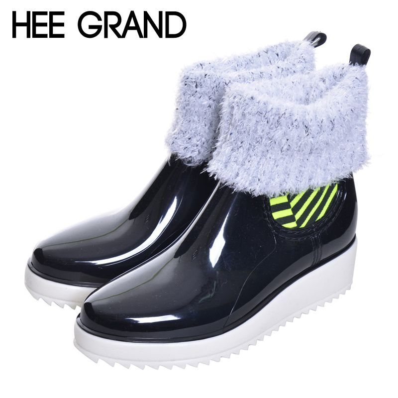 Woman Rainboots Med Heel Platform Mixed Color Slip on Shoes Woman Mid-calf Fashion Rubber Waterproof Thick Heel Boots XWX3872