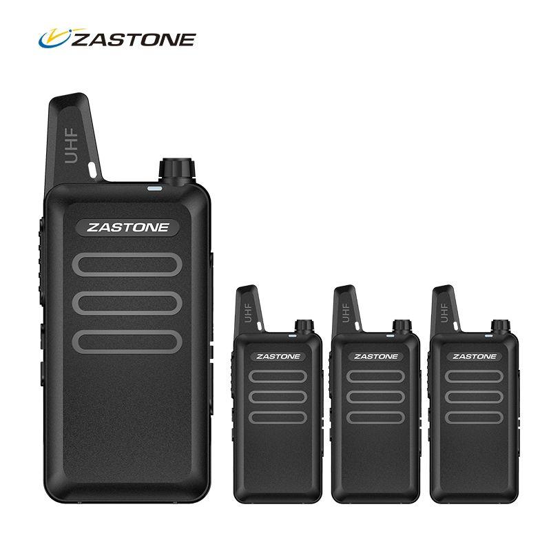 4pcs Portable Radio Set ZASTONE X6 Mini Walkie Talkie UHF Handheld Two Way Ham Radio Communicator HF Transceiver Amateur Handy