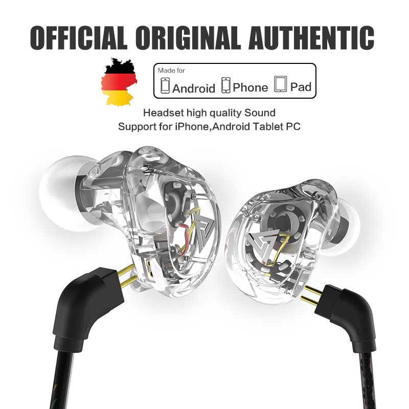 New QKZ VK1 4DD In Ear Earphone HIFI DJ Monito Running Sport Earphone Hybrid Headset Bass Earbuds With Mic Replaced Cable