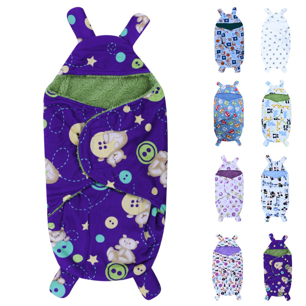 2017 New Arrival Baby Swaddle Wrap Soft Warm Short Plush Newborn Baby Cute Blanket Swaddling Sleeping Bag 8 Styles For 0-6M