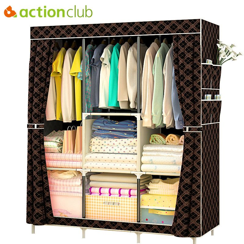 Actionclub Non-tissé multifonction armoire placard meubles tissu grande armoire Portable pliant tissu armoire de rangement casier