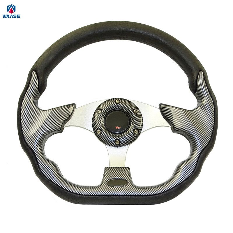 waase Universal Steering Wheels 320mm PU Leather Racing Sports Auto Car Steering Wheel with Horn Button 12.5 inches Carbon Look