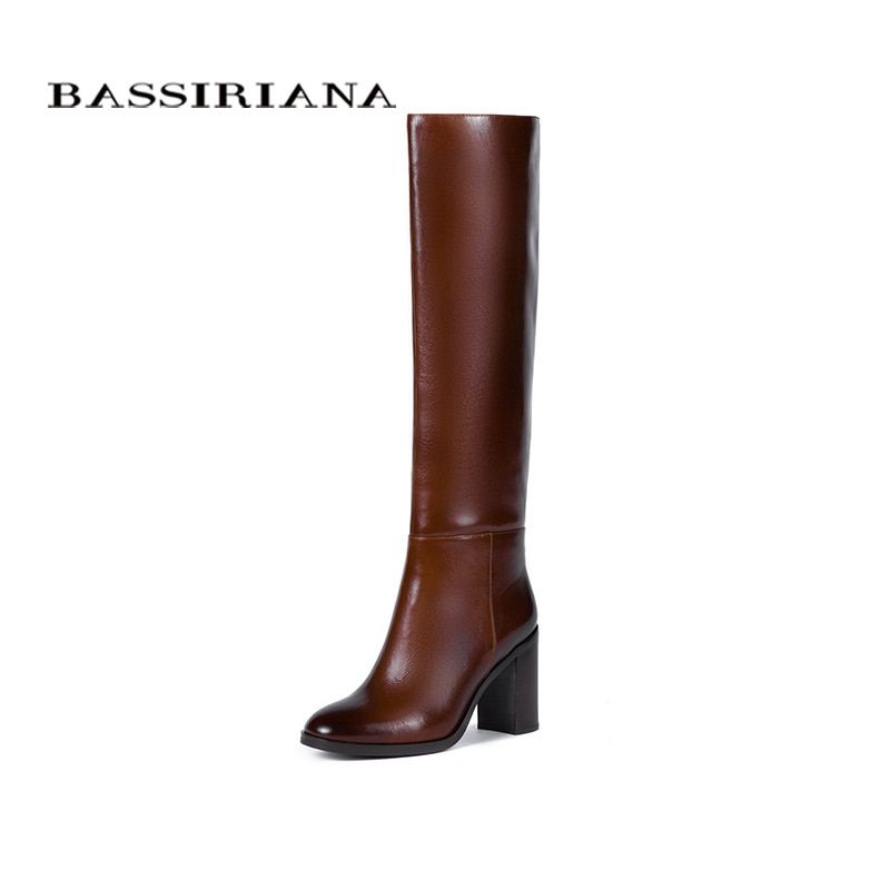 BASSIRIANA New 2017 genuine leather high boots shoes woman winter sexy high heels round toe zip black brown 35-40 size