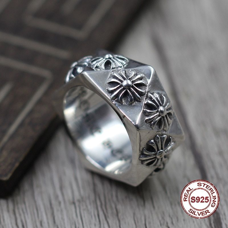 S925 pure silver men's ring personality Do old restoring ancient ways The punk style Classic multi-faceted cross ring Gift lover