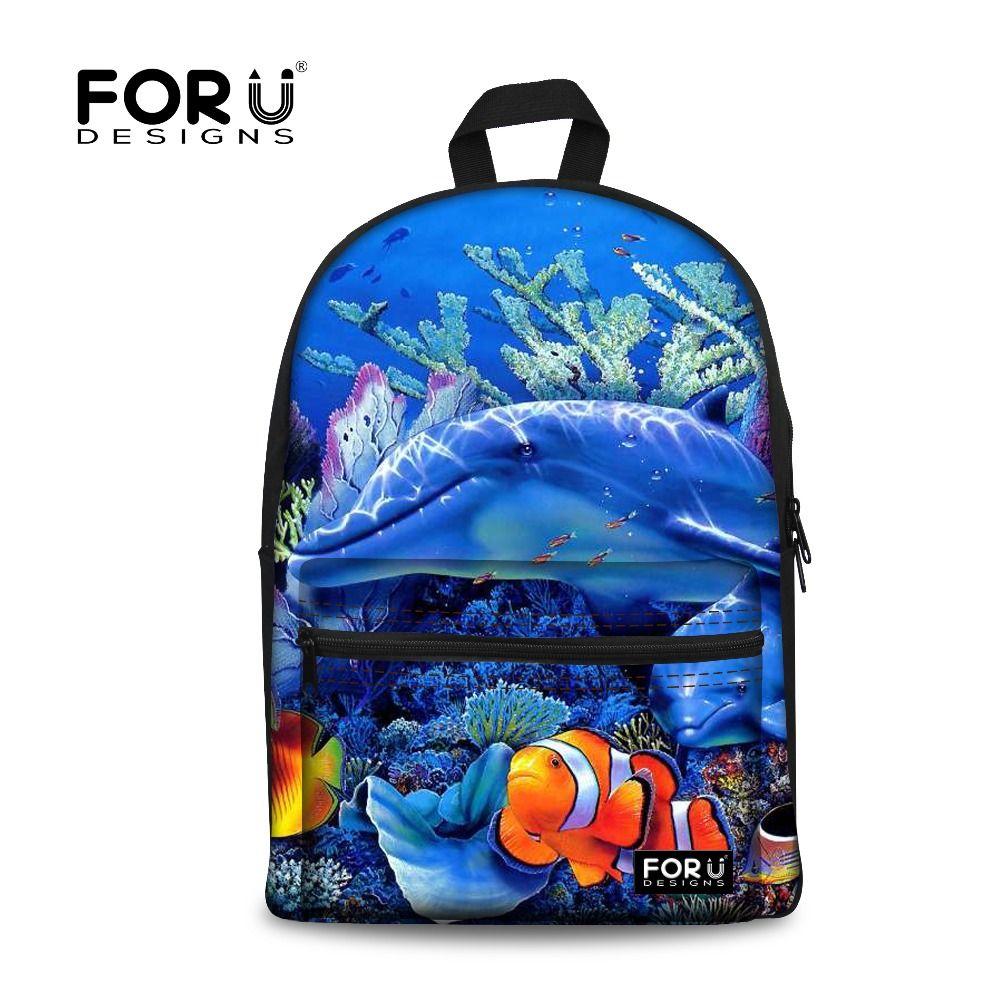 FORUDESIGNS Children School Bags Ocean Sea Dolphin Animal Teenager Boys Schoolbag Tropical Fish Print Book Bags for Kids Mochila