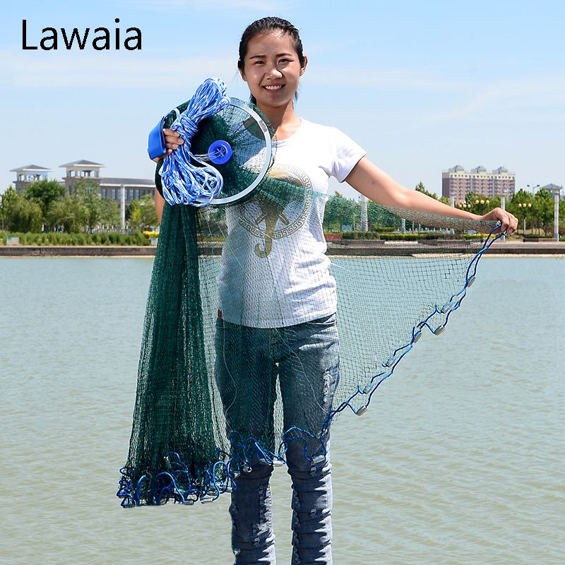 Lawaia Green Fishing Net Four Generation Aluminum Ring Green Netting Cast Net Iron Pendant American Fish Netting Green Outdoor
