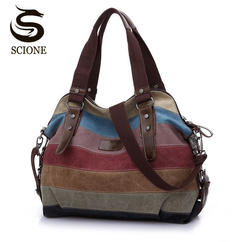 2017 Vintage Canvas Women Hand Bags Striped Rainbow Color Patchwork Bag Shopping Handbag Tote Beach Totes for Women Shoulder Bag