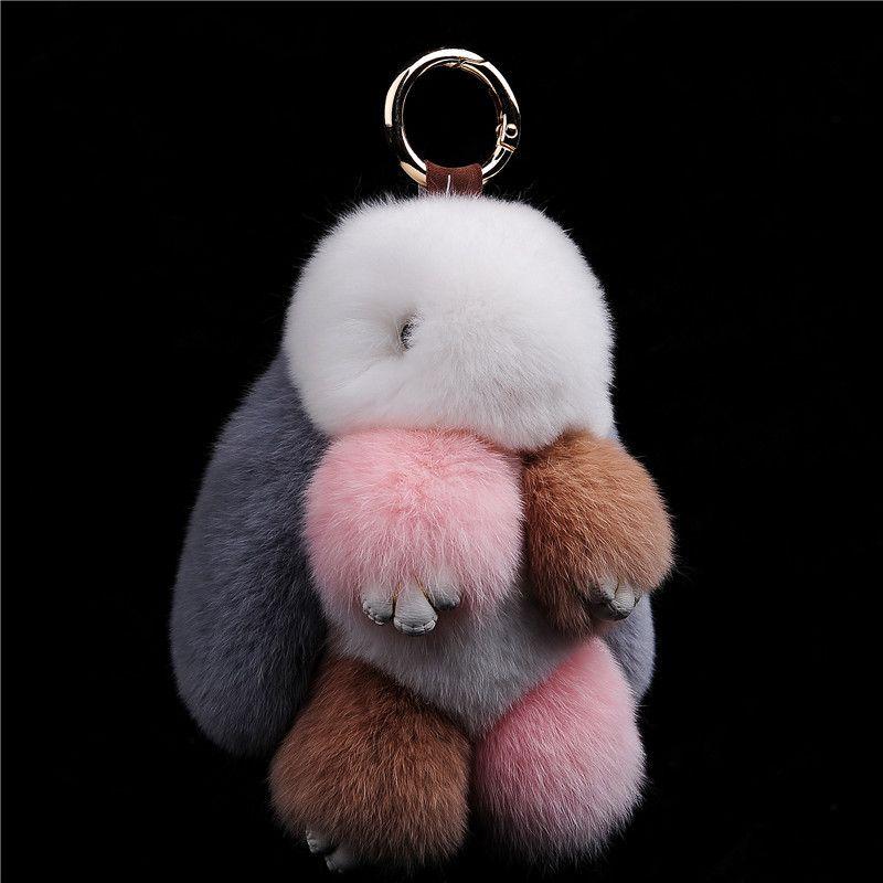 Fourrure lapin porte-clés pendentif Rex lapin cheveux sac Automobile porte-clés anneau chaîne bijoux dépasser Adorable lapin jouet porte-clés